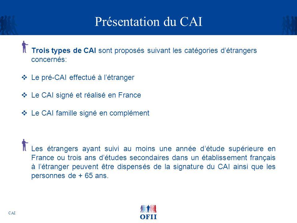 Présentation du CAI Trois types de CAI sont proposés suivant les catégories d'étrangers concernés: