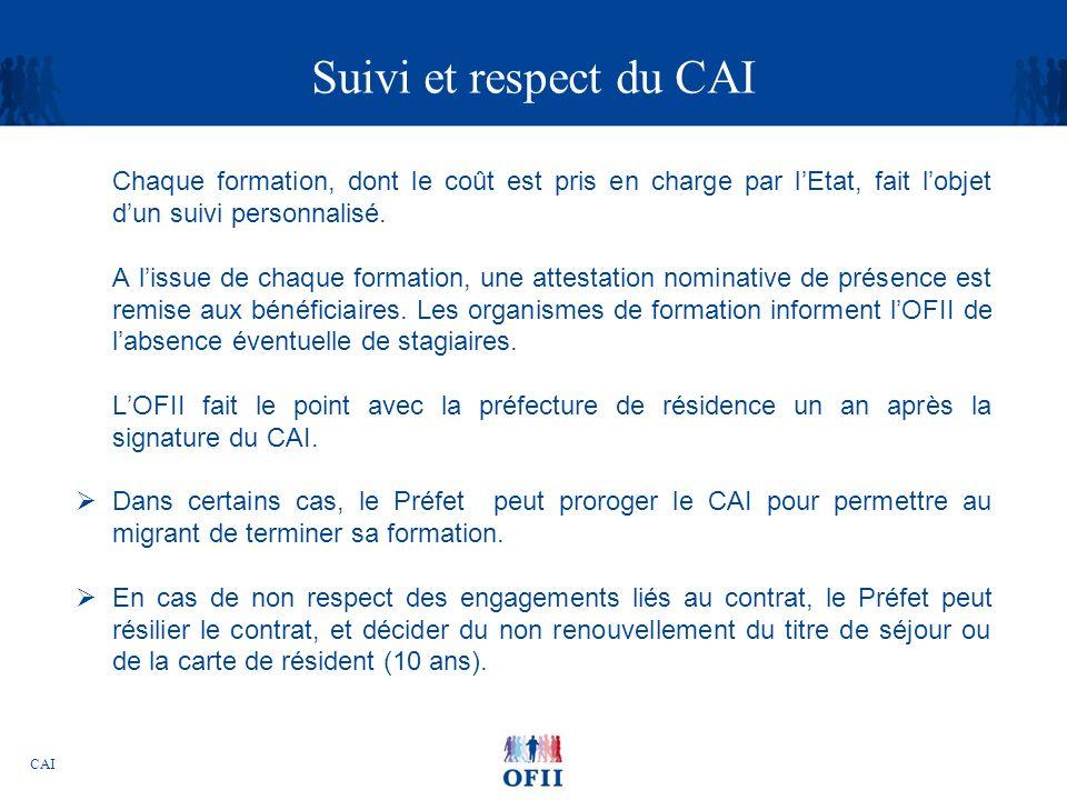Suivi et respect du CAI Chaque formation, dont le coût est pris en charge par l'Etat, fait l'objet d'un suivi personnalisé.