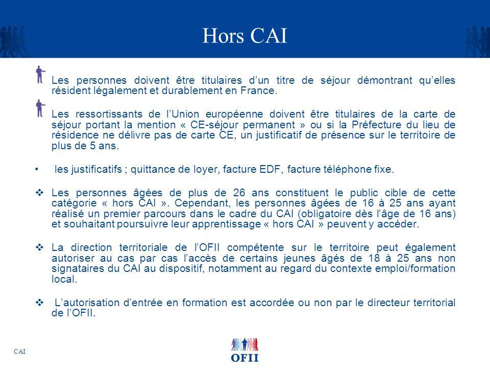Hors CAI Les personnes doivent être titulaires d'un titre de séjour démontrant qu'elles résident légalement et durablement en France.