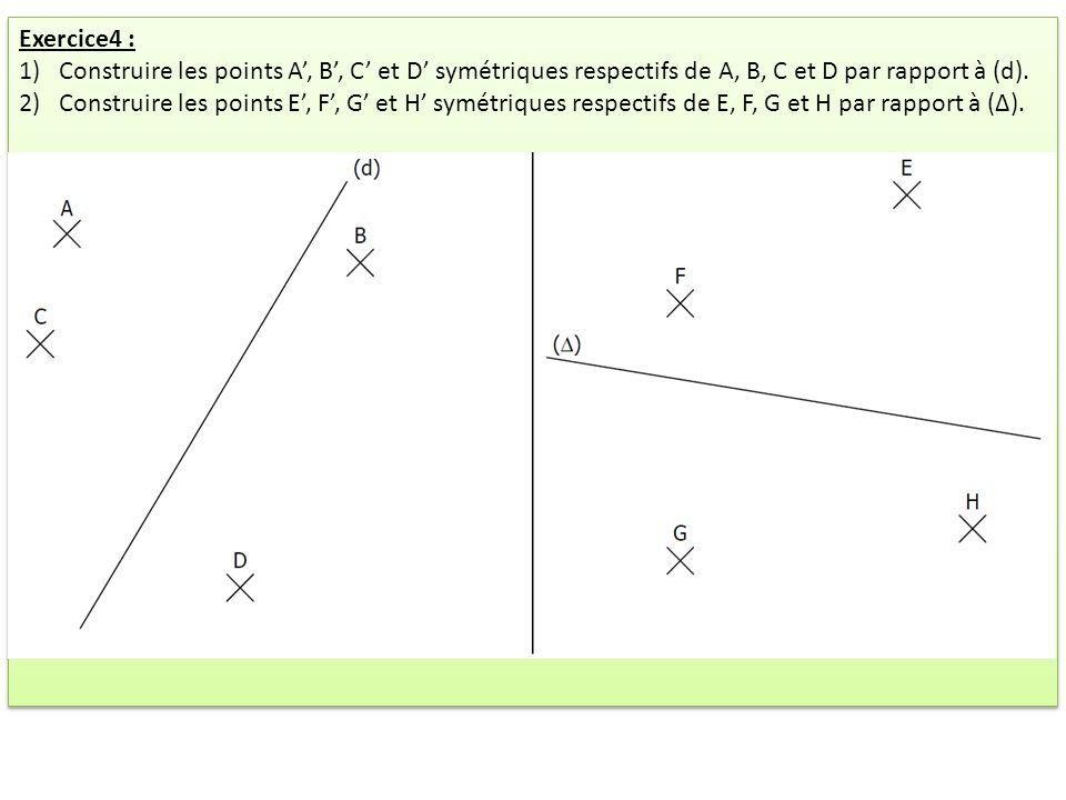 Exercice4 : Construire les points A', B', C' et D' symétriques respectifs de A, B, C et D par rapport à (d).