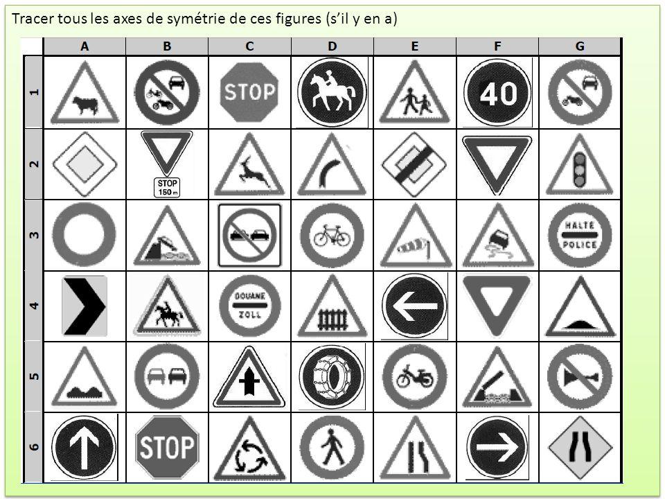 Tracer tous les axes de symétrie de ces figures (s'il y en a)
