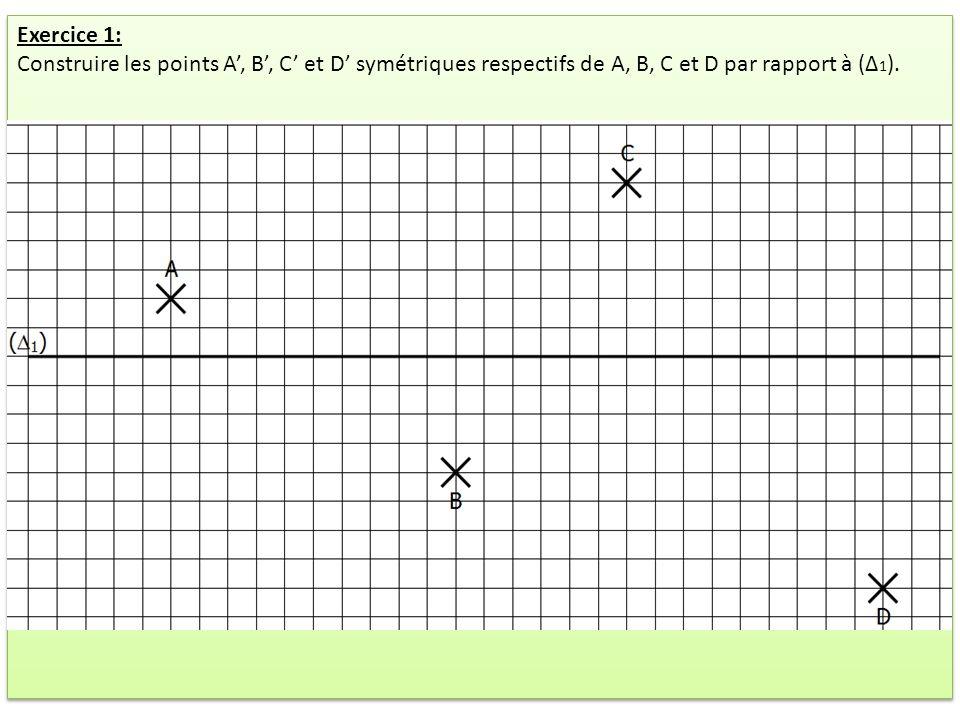 Exercice 1: Construire les points A', B', C' et D' symétriques respectifs de A, B, C et D par rapport à (Δ1).