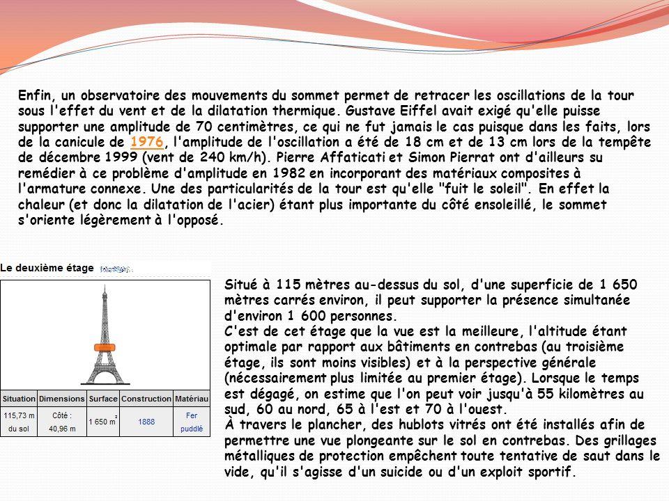 Enfin, un observatoire des mouvements du sommet permet de retracer les oscillations de la tour sous l effet du vent et de la dilatation thermique. Gustave Eiffel avait exigé qu elle puisse supporter une amplitude de 70 centimètres, ce qui ne fut jamais le cas puisque dans les faits, lors de la canicule de 1976, l amplitude de l oscillation a été de 18 cm et de 13 cm lors de la tempête de décembre 1999 (vent de 240 km/h). Pierre Affaticati et Simon Pierrat ont d ailleurs su remédier à ce problème d amplitude en 1982 en incorporant des matériaux composites à l armature connexe. Une des particularités de la tour est qu elle fuit le soleil . En effet la chaleur (et donc la dilatation de l acier) étant plus importante du côté ensoleillé, le sommet s oriente légèrement à l opposé.
