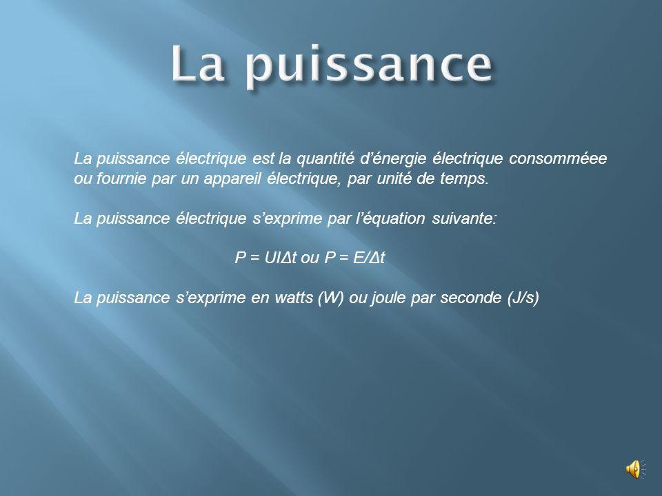 La puissance La puissance électrique est la quantité d'énergie électrique consomméee ou fournie par un appareil électrique, par unité de temps.