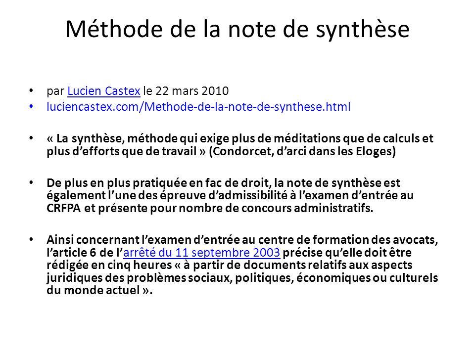 Méthode de la note de synthèse