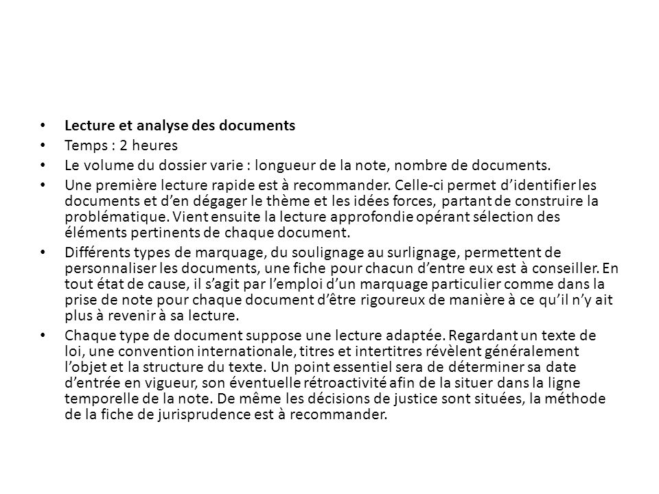 Lecture et analyse des documents