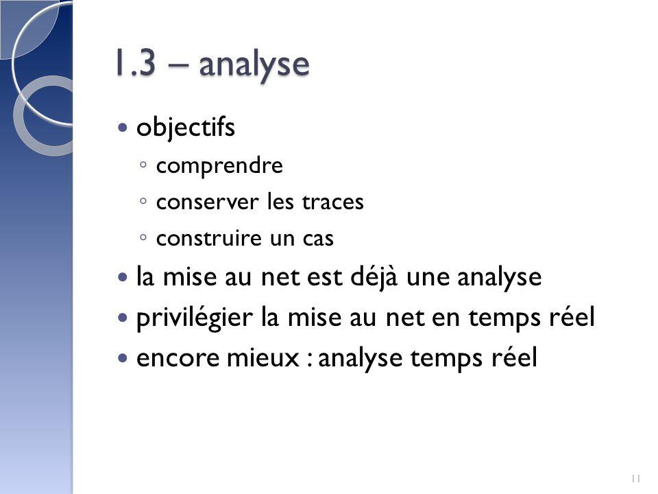 1.3 – analyse objectifs la mise au net est déjà une analyse