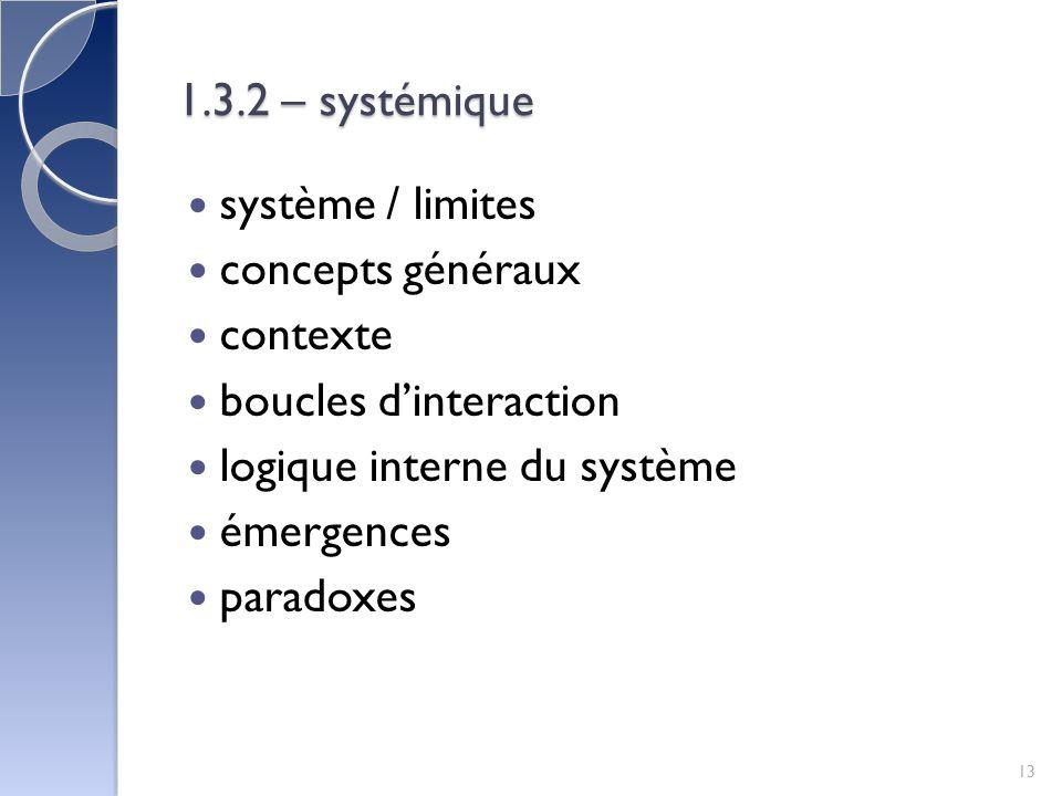 1.3.2 – systémique système / limites. concepts généraux. contexte. boucles d'interaction. logique interne du système.