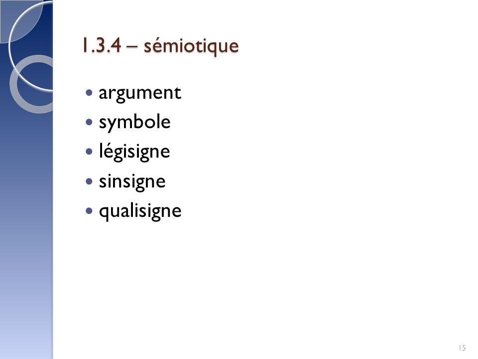 1.3.4 – sémiotique argument symbole légisigne sinsigne qualisigne