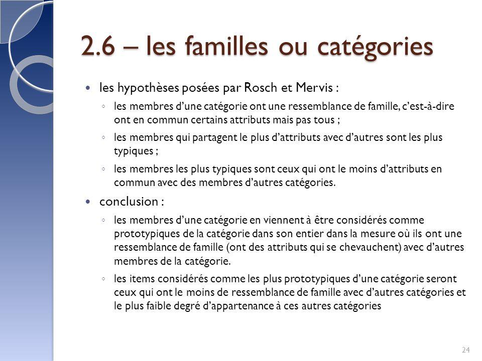 2.6 – les familles ou catégories