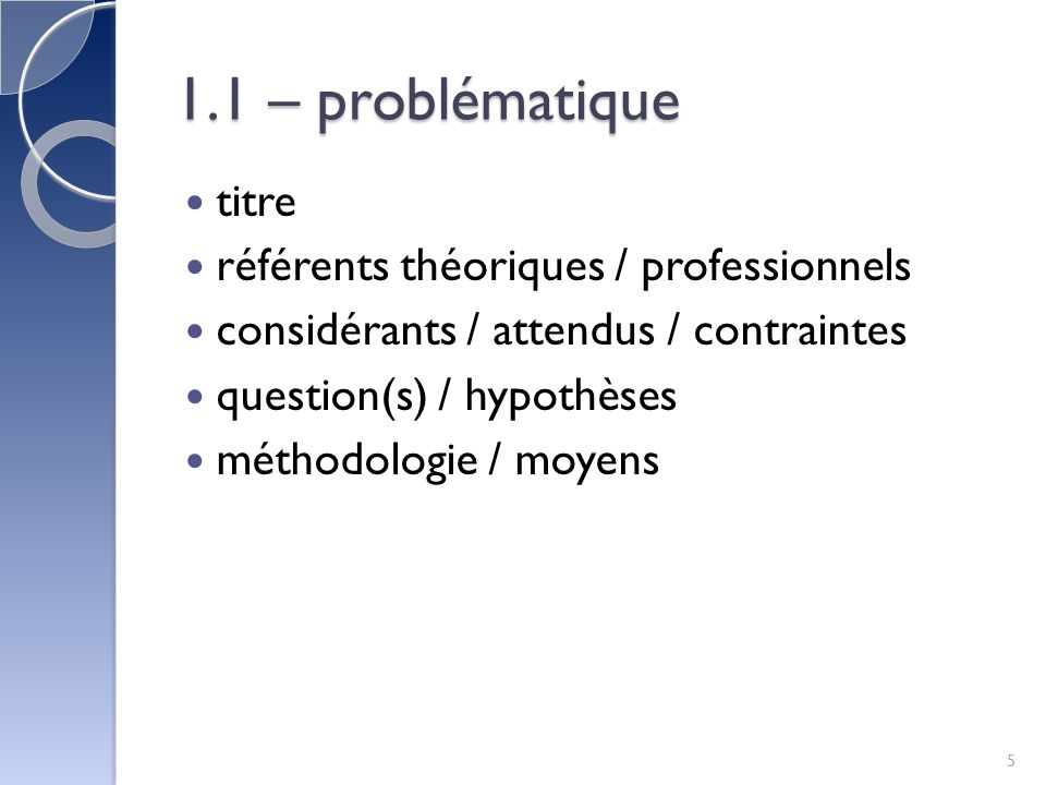 1.1 – problématique titre référents théoriques / professionnels