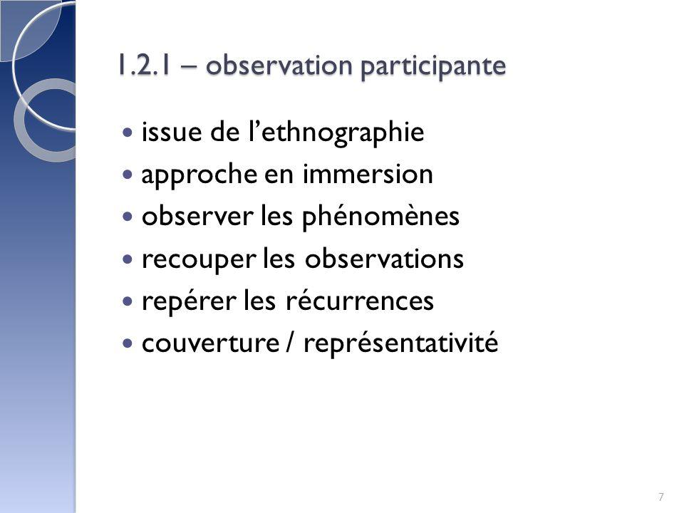 1.2.1 – observation participante