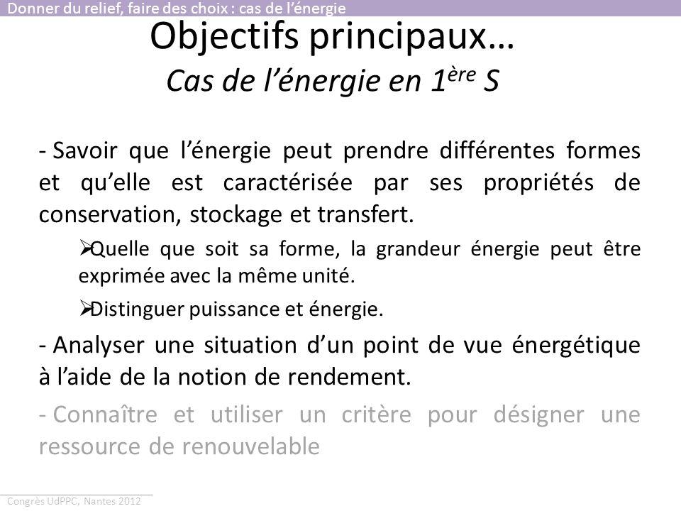 Objectifs principaux… Cas de l'énergie en 1ère S