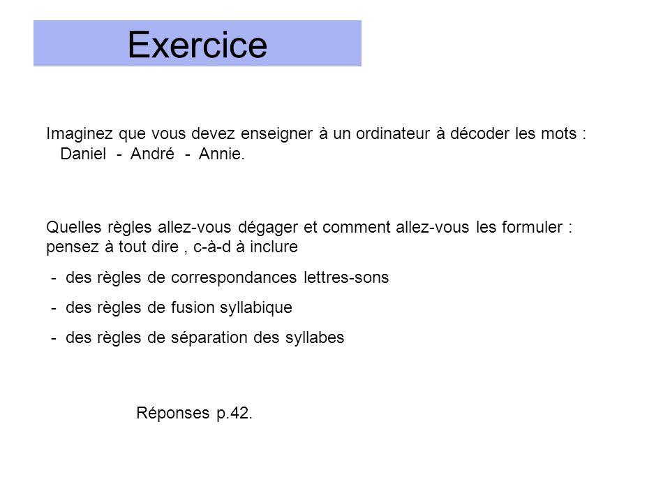 Exercice Imaginez que vous devez enseigner à un ordinateur à décoder les mots : Daniel - André - Annie.