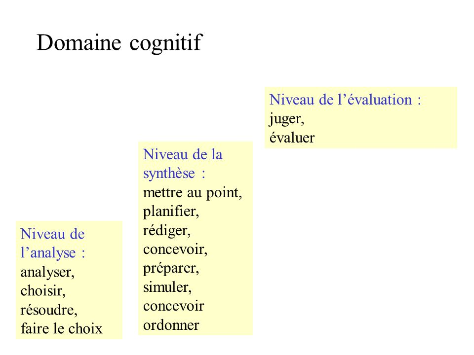 Domaine cognitif Niveau de l'évaluation : juger, évaluer