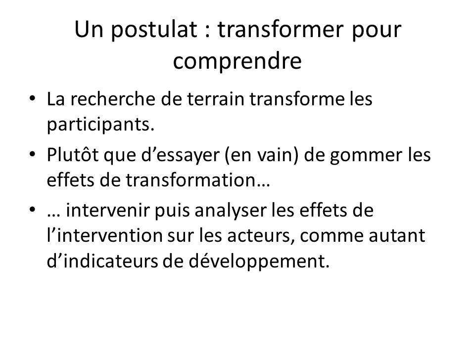 Un postulat : transformer pour comprendre