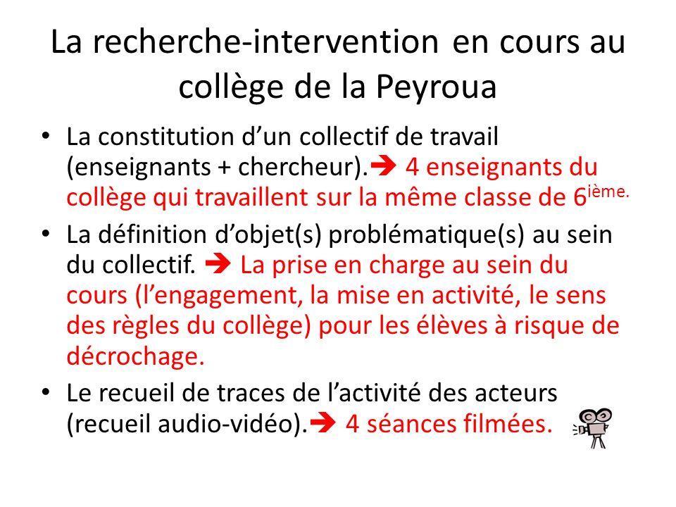La recherche-intervention en cours au collège de la Peyroua