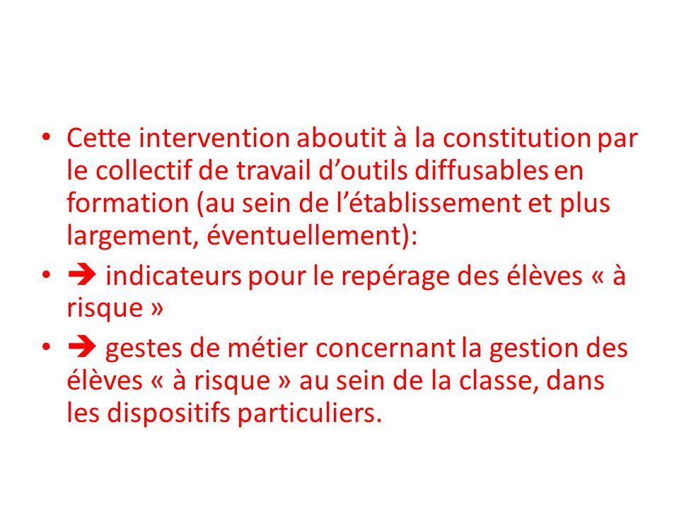 Cette intervention aboutit à la constitution par le collectif de travail d'outils diffusables en formation (au sein de l'établissement et plus largement, éventuellement):