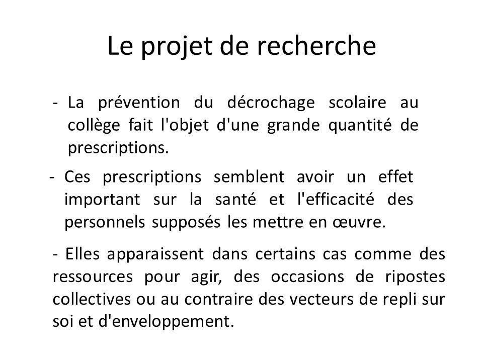 Le projet de recherche La prévention du décrochage scolaire au collège fait l objet d une grande quantité de prescriptions.