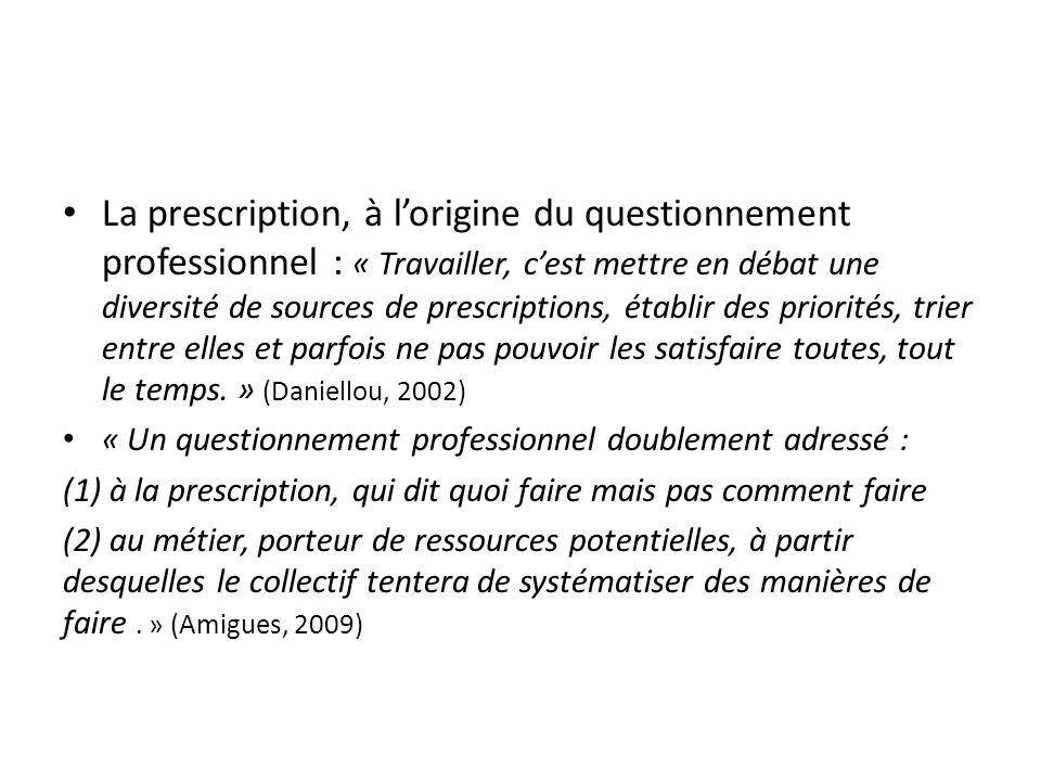 La prescription, à l'origine du questionnement professionnel : « Travailler, c'est mettre en débat une diversité de sources de prescriptions, établir des priorités, trier entre elles et parfois ne pas pouvoir les satisfaire toutes, tout le temps. » (Daniellou, 2002)