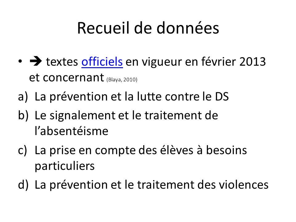 Recueil de données  textes officiels en vigueur en février 2013 et concernant (Blaya, 2010) La prévention et la lutte contre le DS.