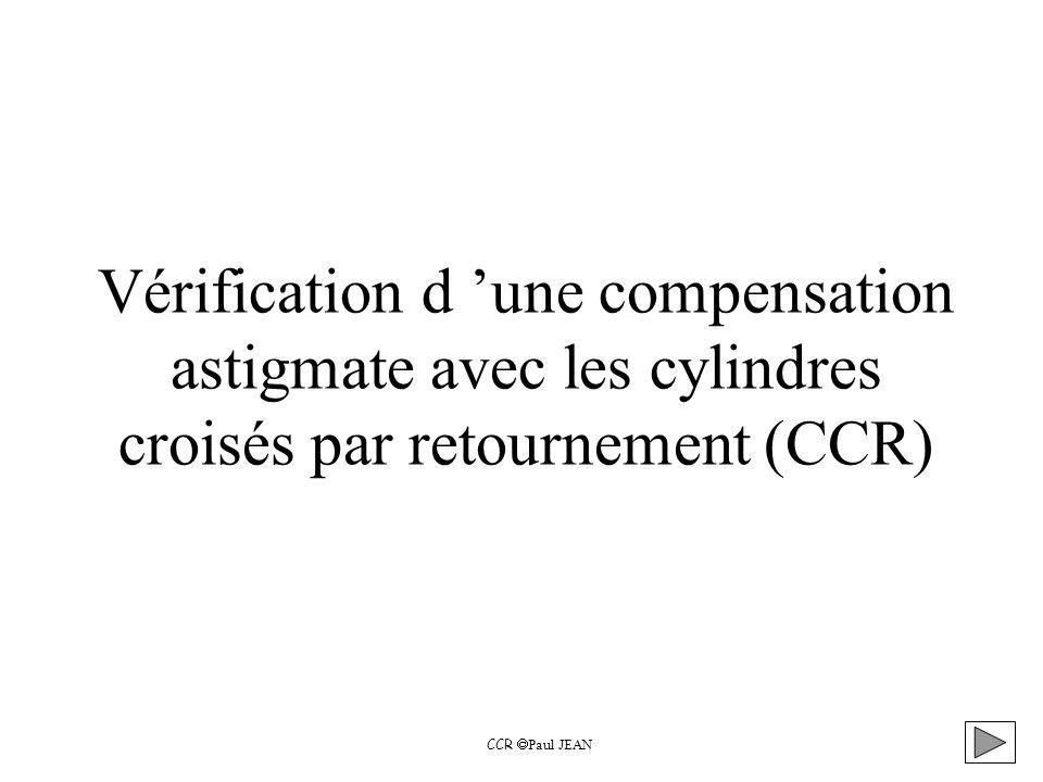 Vérification d 'une compensation astigmate avec les cylindres croisés par retournement (CCR)