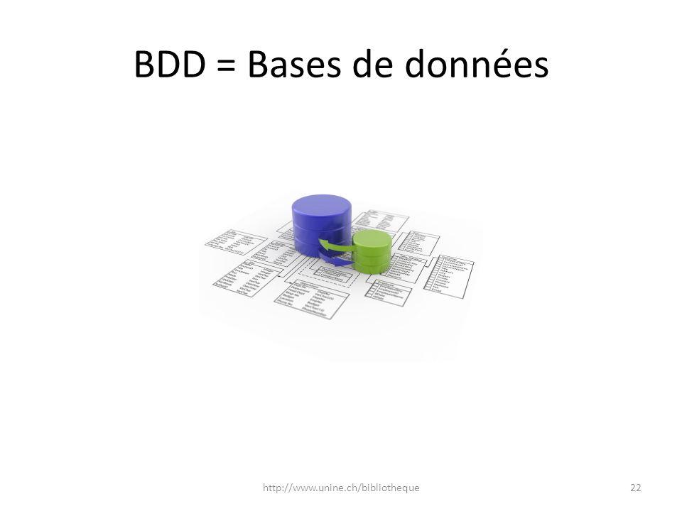BDD = Bases de données http://www.unine.ch/bibliotheque