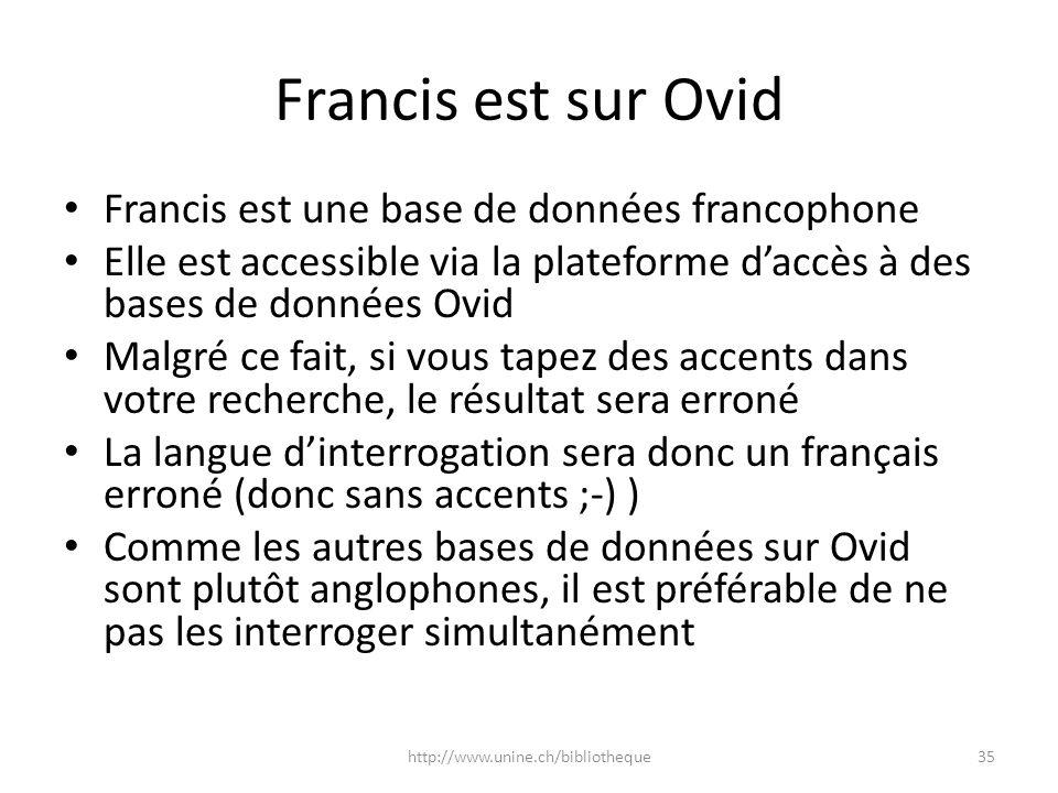 Francis est sur Ovid Francis est une base de données francophone