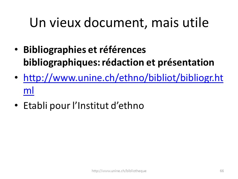Un vieux document, mais utile