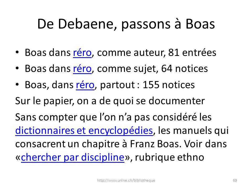 De Debaene, passons à Boas