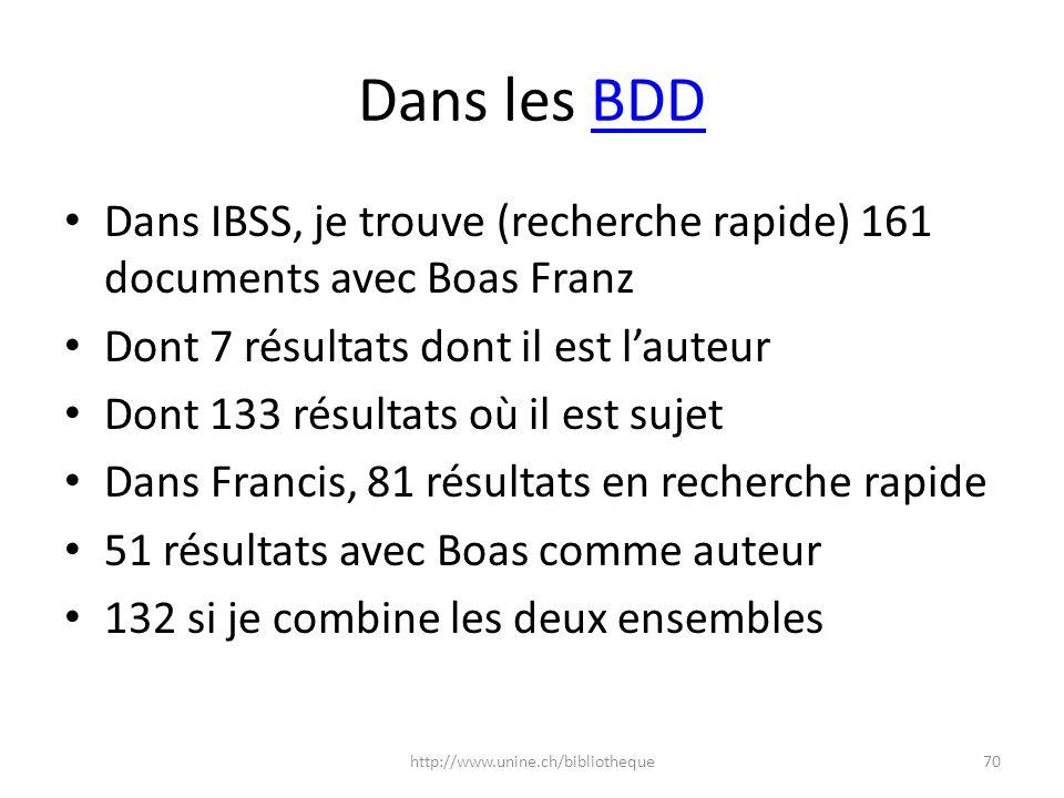 Dans les BDD Dans IBSS, je trouve (recherche rapide) 161 documents avec Boas Franz. Dont 7 résultats dont il est l'auteur.