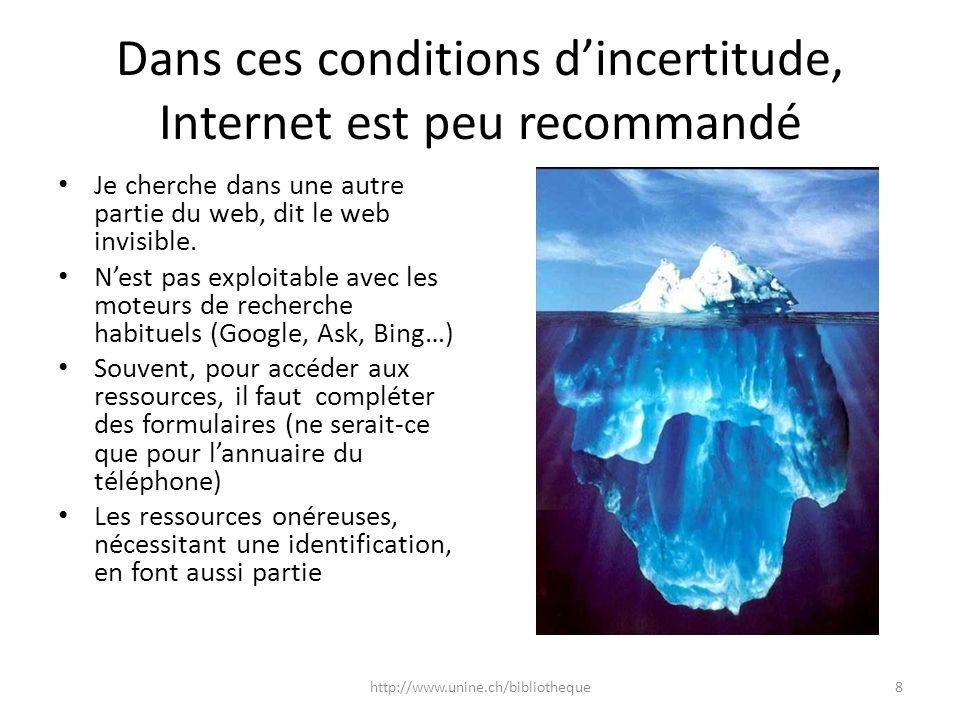 Dans ces conditions d'incertitude, Internet est peu recommandé