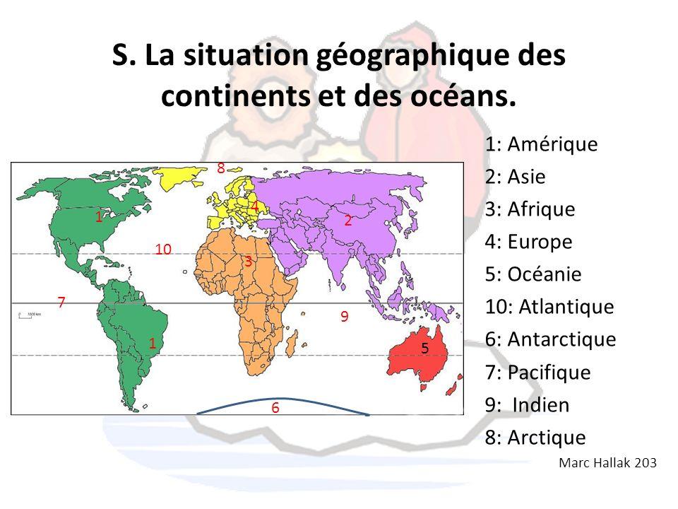 S. La situation géographique des continents et des océans.