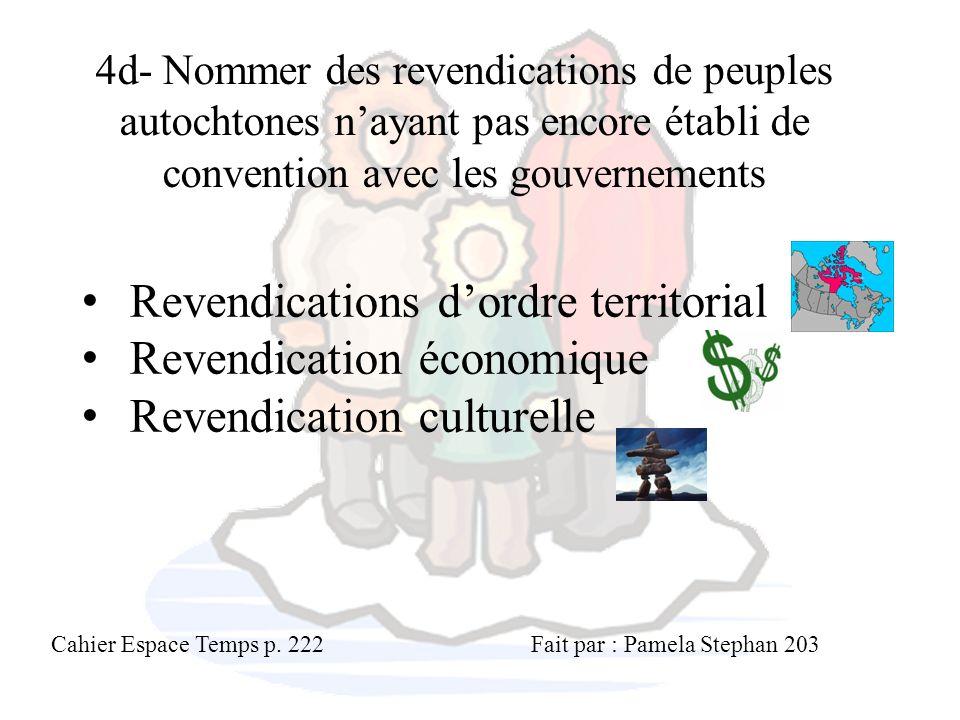 Revendications d'ordre territorial Revendication économique