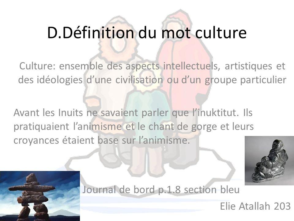 D.Définition du mot culture