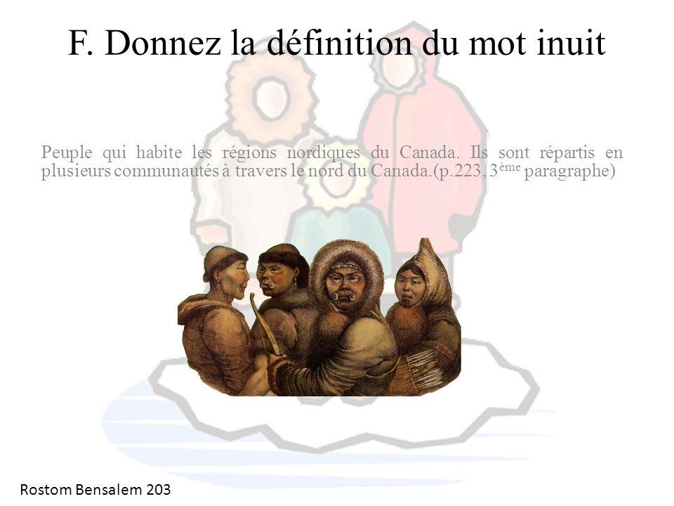 F. Donnez la définition du mot inuit