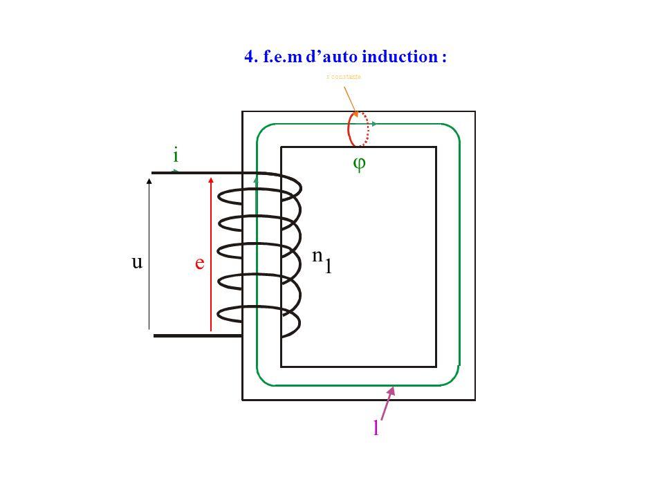 4. f.e.m d'auto induction : l n 1 s constante  i u e