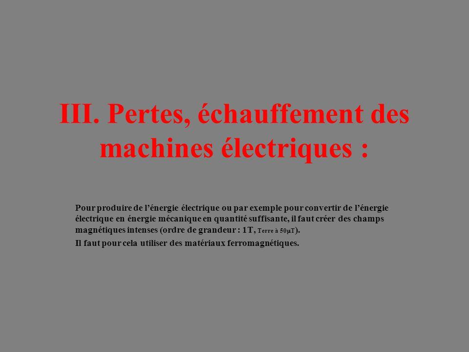 III. Pertes, échauffement des machines électriques :