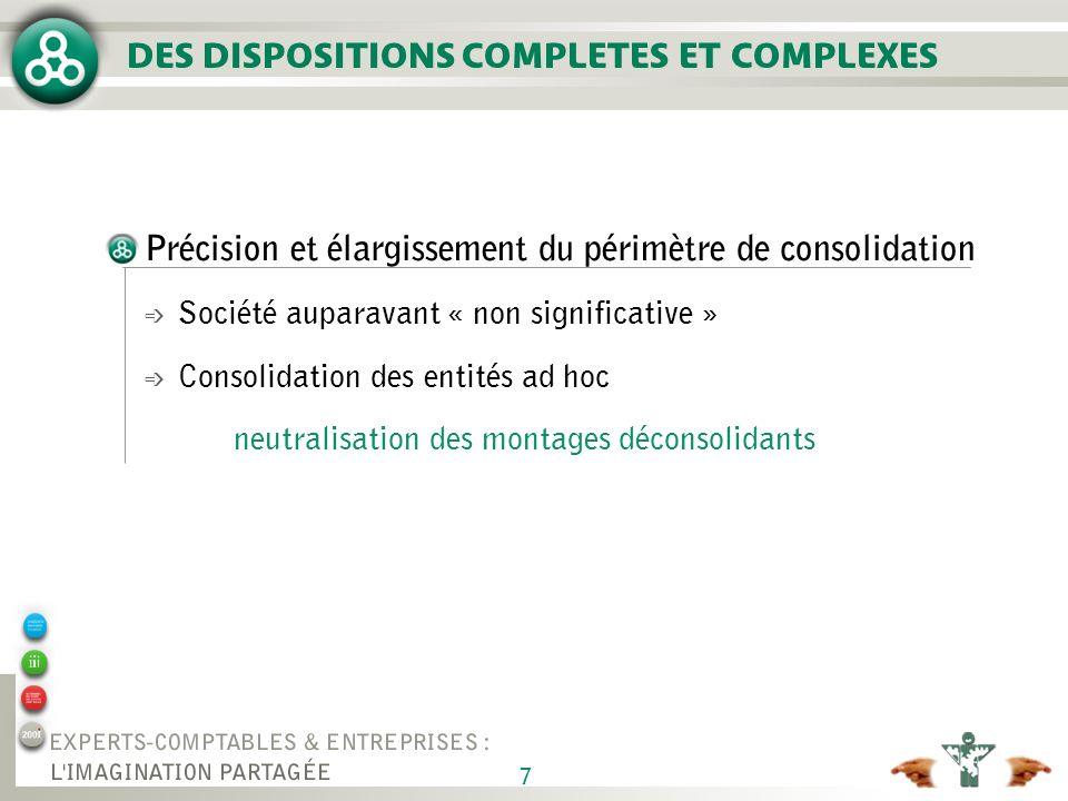 DES DISPOSITIONS COMPLETES ET COMPLEXES