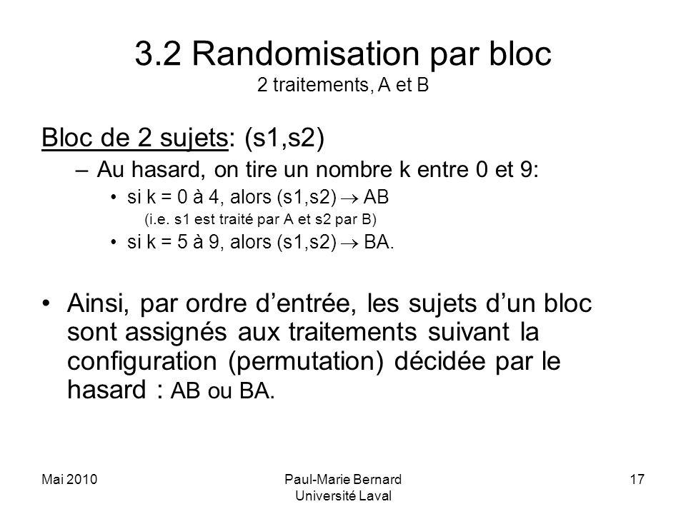 3.2 Randomisation par bloc 2 traitements, A et B