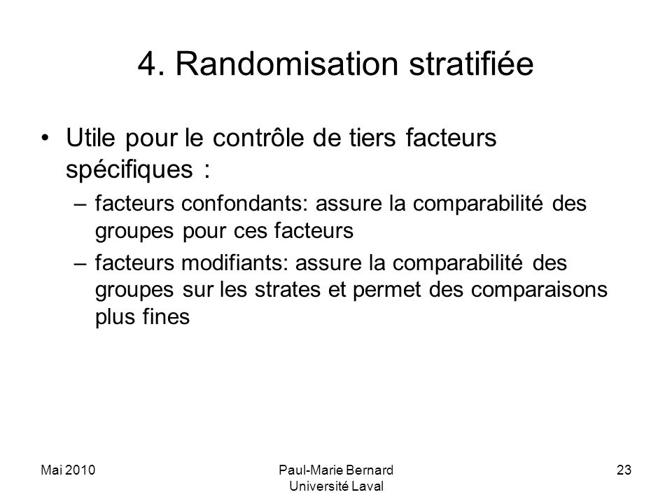 4. Randomisation stratifiée
