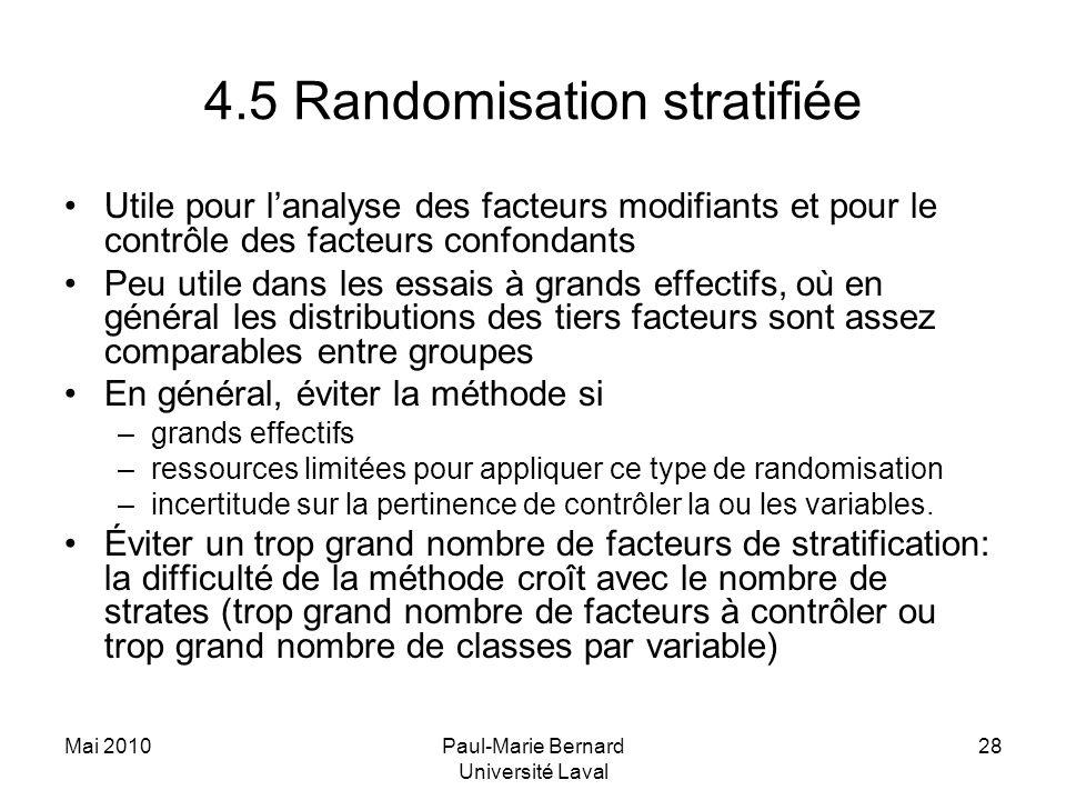 4.5 Randomisation stratifiée