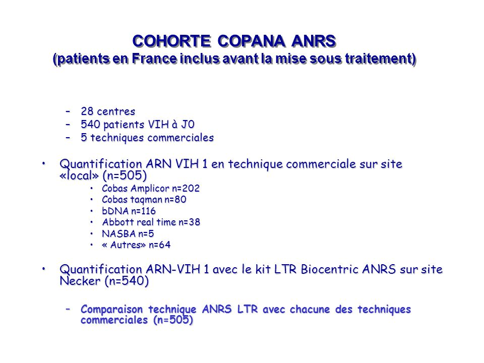 COHORTE COPANA ANRS (patients en France inclus avant la mise sous traitement)