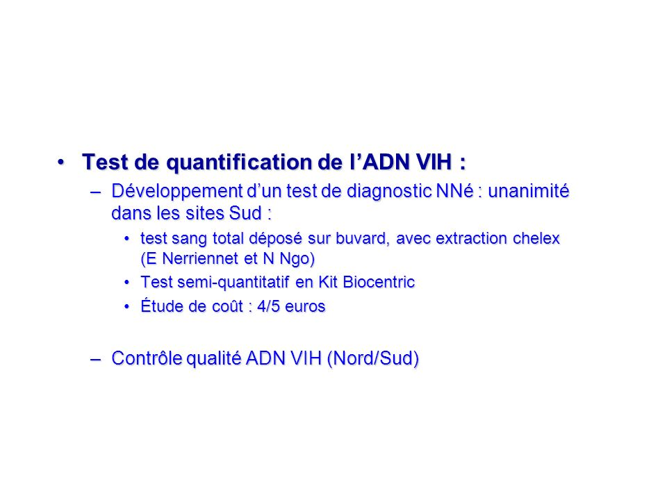 Test de quantification de l'ADN VIH :