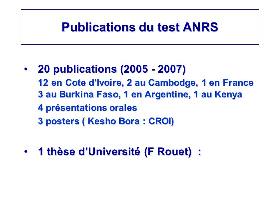 Publications du test ANRS
