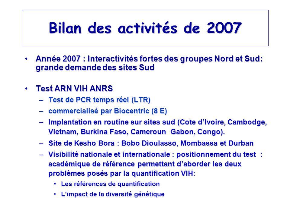 Bilan des activités de 2007 Année 2007 : Interactivités fortes des groupes Nord et Sud: grande demande des sites Sud.