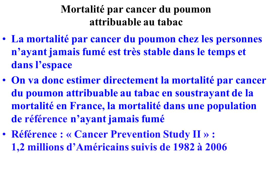 Mortalité par cancer du poumon attribuable au tabac