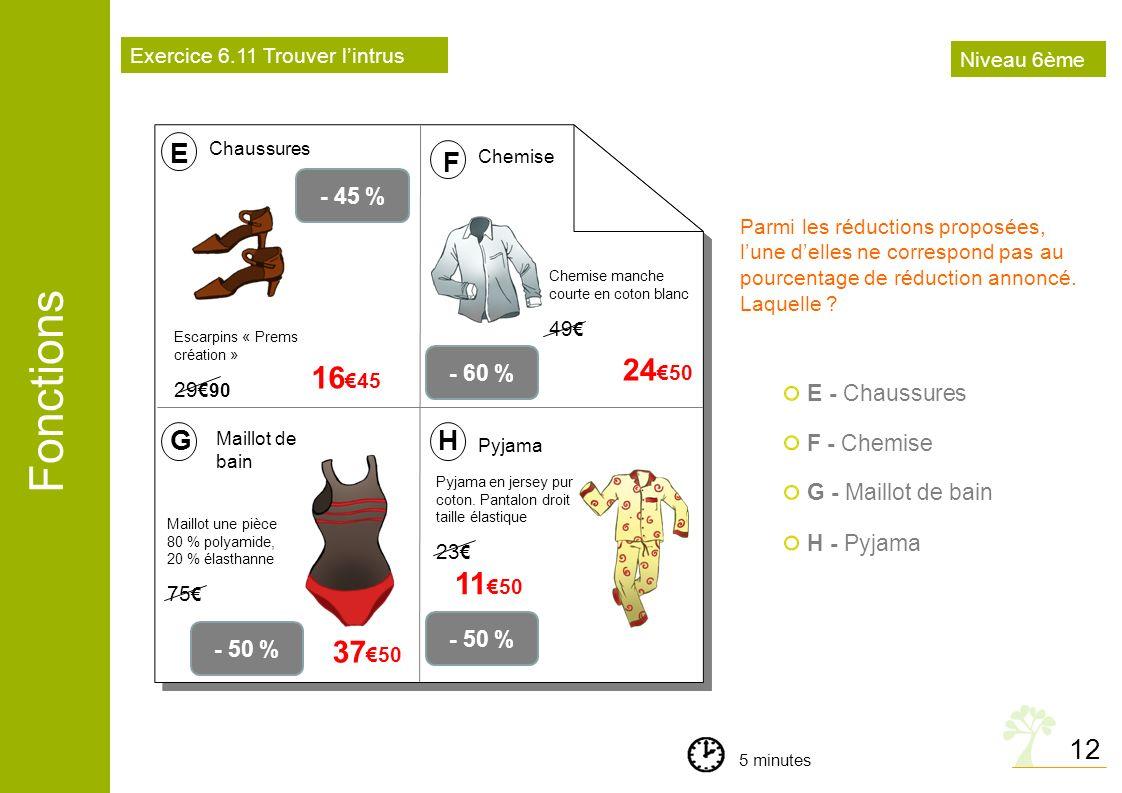 24€50 16€45 11€50 37€50 E F G H 12 - 45 % - 60 % E - Chaussures
