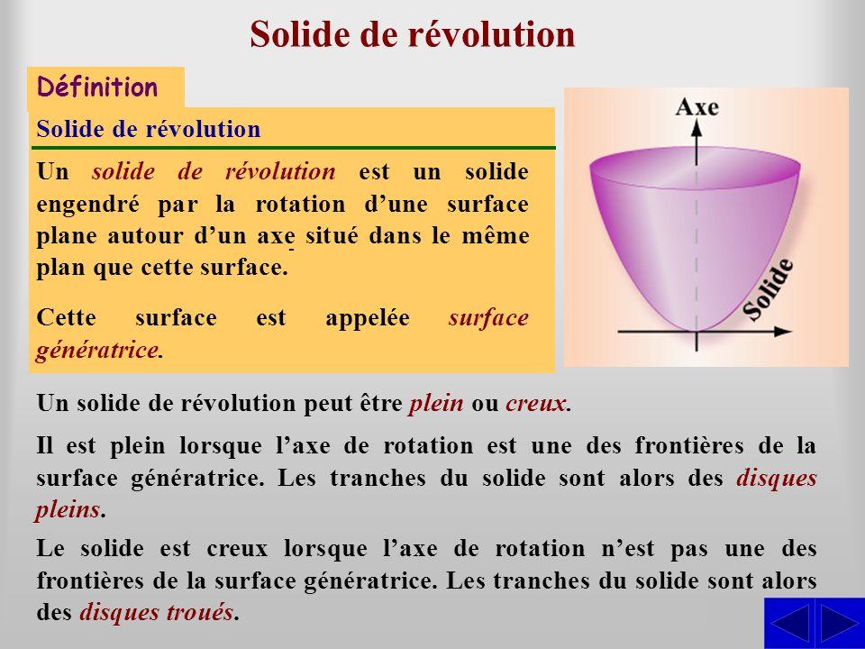 Solide de révolution - S Définition Solide de révolution
