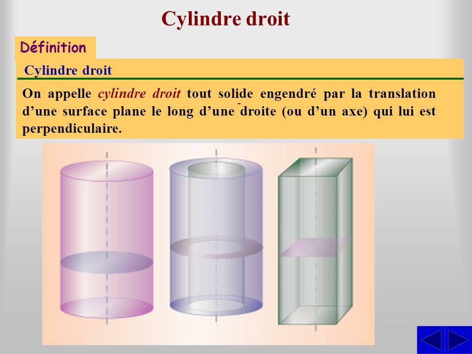 Cylindre droit - S Définition Cylindre droit